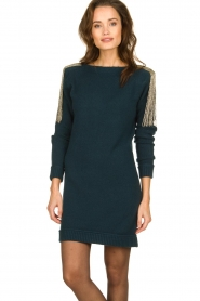 Patrizia Pepe |  Sweater dress with fringes Micky | blue  | Picture 2