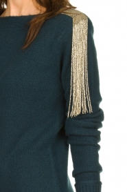 Patrizia Pepe |  Sweater dress with fringes Micky | blue  | Picture 6