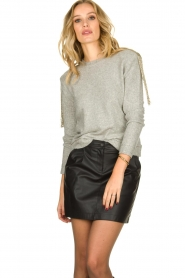 Patrizia Pepe |   Sweater with beaded decoration Emma | grey  | Picture 2