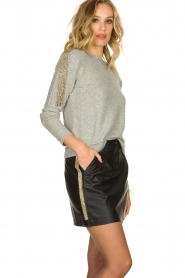 Patrizia Pepe |   Sweater with beaded decoration Emma | grey  | Picture 4