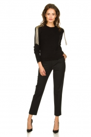 Patrizia Pepe |   Sweater with beaded decoration Emma | black  | Picture 3