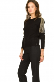 Patrizia Pepe |   Sweater with beaded decoration Emma | black  | Picture 4