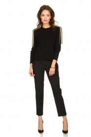 Patrizia Pepe |   Sweater with beaded decoration Emma | black  | Picture 6