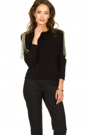Patrizia Pepe |   Sweater with beaded decoration Emma | black  | Picture 2