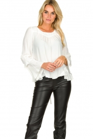 Patrizia Pepe |  Blouse with ruffles Tia | white  | Picture 3