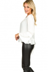 Patrizia Pepe |  Blouse with ruffles Tia | white  | Picture 4