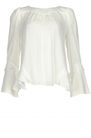 Patrizia Pepe |  Blouse with ruffles Tia | white  | Picture 1