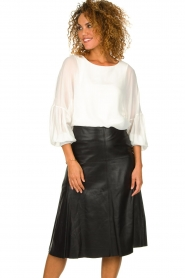 Patrizia Pepe |  Blouse with puff sleeves Rinnie | white  | Picture 2