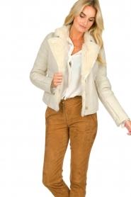Patrizia Pepe | Leren lammy coat Gwendoline | naturel  | Afbeelding 4