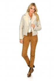 Patrizia Pepe | Leren lammy coat Gwendoline | naturel  | Afbeelding 3