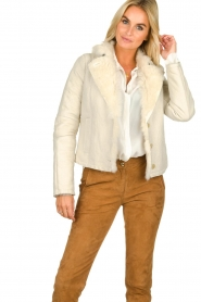 Patrizia Pepe |  Leather lammy coat Gwendonline | natural  | Picture 2