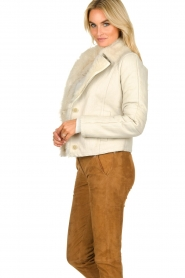 Patrizia Pepe |  Leather lammy coat Gwendonline | natural  | Picture 5
