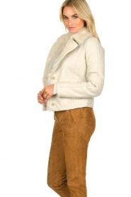 Patrizia Pepe | Leren lammy coat Gwendoline | naturel  | Afbeelding 5