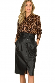 Patrizia Pepe |  Faux leather skirt Gonna | black  | Picture 2