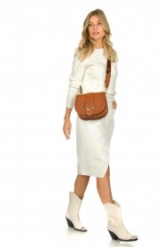 Patrizia Pepe |  Faux leather skirt Gonna | white  | Picture 3