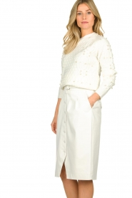 Patrizia Pepe |  Faux leather skirt Gonna | white  | Picture 4