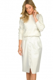 Patrizia Pepe |  Faux leather skirt Gonna | white  | Picture 2