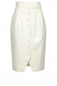 Patrizia Pepe |  Faux leather skirt Gonna | white  | Picture 1