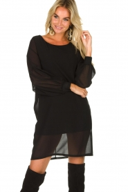 Patrizia Pepe |  Dress with puff sleeves Jazmin | black  | Picture 2