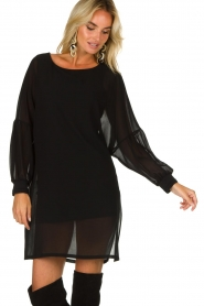 Patrizia Pepe |  Dress with puff sleeves Jazmin | black  | Picture 4