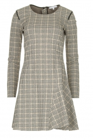Patrizia Pepe |  Houndstooth printed dress Nora | beige