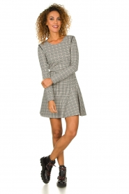 Patrizia Pepe |  Houndstooth printed dress Nora | beige  | Picture 3