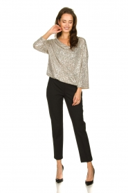 Patrizia Pepe |  Top with silver coloured sequins Amber | metallic  | Picture 6