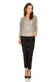 Patrizia Pepe |  Top with silver coloured sequins Amber | metallic  | Picture 3