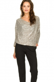 Patrizia Pepe |  Top with silver coloured sequins Amber | metallic  | Picture 2
