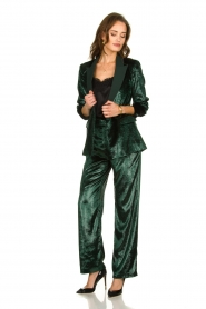 Patrizia Pepe |  Wide velvet pants Mara | green  | Picture 3