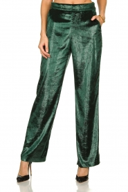 Patrizia Pepe |  Wide velvet pants Mara | green  | Picture 2