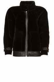 Patrizia Pepe |  Reversible faux lammy coat Nicole | black  | Picture 1