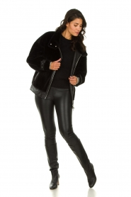 Patrizia Pepe |  Reversible faux lammy coat Nicole | black  | Picture 4