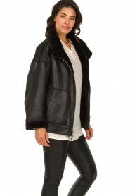 Patrizia Pepe |  Reversible faux lammy coat Nicole | black  | Picture 7