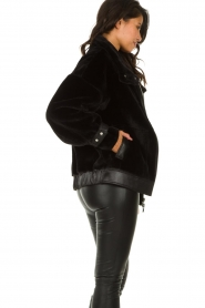 Patrizia Pepe |  Reversible faux lammy coat Nicole | black  | Picture 8
