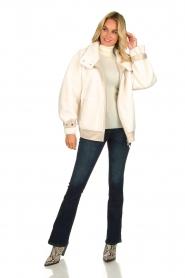 Patrizia Pepe |  Reversible faux lammy coat Nicole | natural  | Picture 3