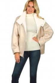 Patrizia Pepe |  Reversible faux lammy coat Nicole | natural  | Picture 6