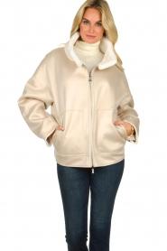 Patrizia Pepe |  Reversible faux lammy coat Nicole | natural  | Picture 9