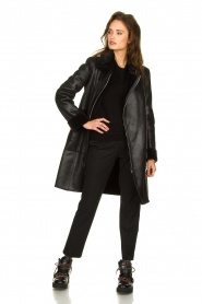 Patrizia Pepe |  Reversible faux lammy coat Eva | black  | Picture 9