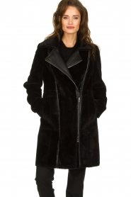 Patrizia Pepe |  Reversible faux lammy coat Eva | black  | Picture 8