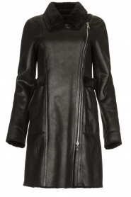 Patrizia Pepe |  Reversible faux lammy coat Eva | black  | Picture 1