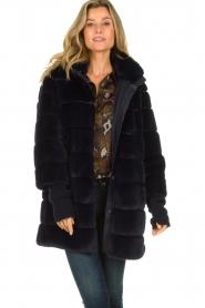 Patrizia Pepe |  Faux fur coat Jeanette | blue  | Picture 6
