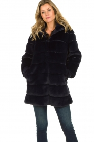 Patrizia Pepe |  Faux fur coat Jeanette | blue  | Picture 2