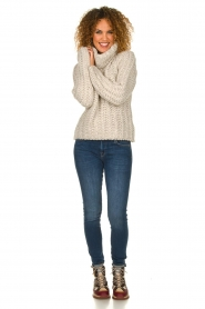 Blaumax |  Turtle neck sweater with cable knit pattern Tia | beige  | Picture 3