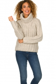 Blaumax |  Turtle neck sweater with cable knit pattern Tia | beige  | Picture 6