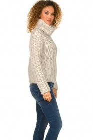 Blaumax |  Turtle neck sweater with cable knit pattern Tia | beige  | Picture 4