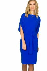 D-ETOILES CASIOPE |  Wrinkle-free stretch dress Sucre | blue  | Picture 2