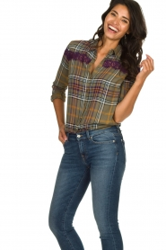 Kocca    Checkered blouse with lace Gennas   green    Picture 2