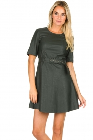 Kocca | Faux leather dress Nidra | green  | Picture 2