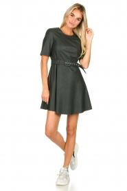 Kocca | Faux leather dress Nidra | green  | Picture 4